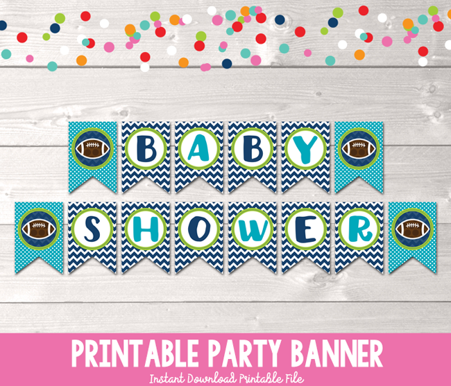 photograph regarding Printable Baby Shower Banners named Boys Soccer Printable Youngster Shower Banner