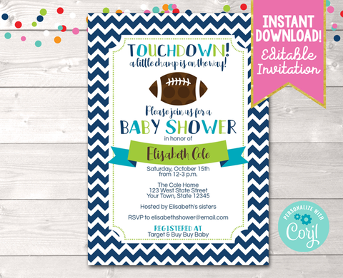 Editable Boys Football Baby Shower Invitation Instant Download Printable PDF or JPG