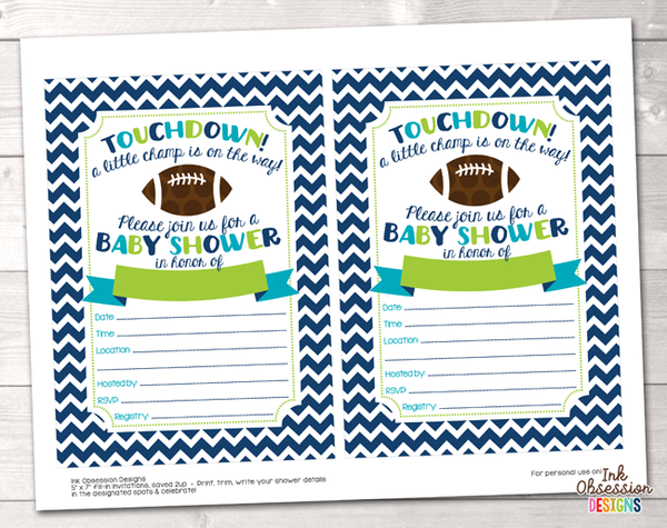 Football Boys Baby Shower Invitation Printable PDF