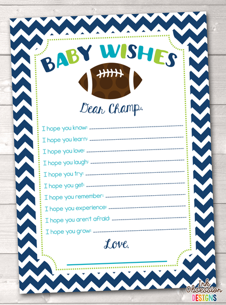 Boys Football Printable Baby Wishes Cards
