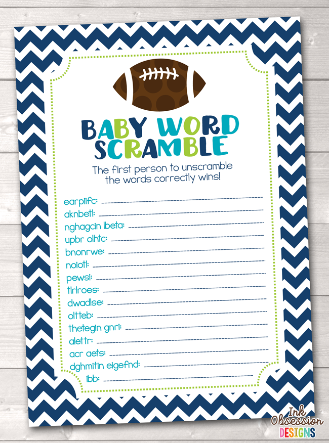 graphic about Free Printable Baby Shower Games Word Scramble With Answer Key identified as Boys Soccer Boy or girl Term Scramble Printable Little one Shower Activity