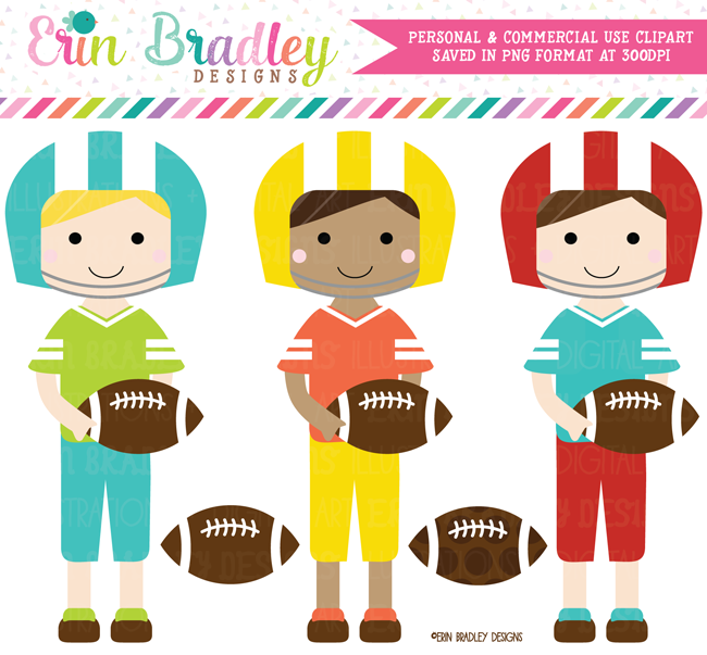 Commercial Use Football Players Clipart