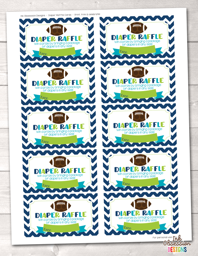 picture about Printable Diaper named Soccer Child Shower Printable Diaper Raffle Ticket