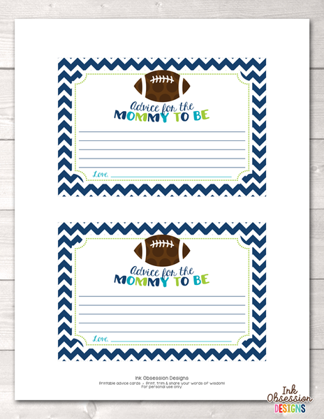 Football Printable Mommy Advice Cards