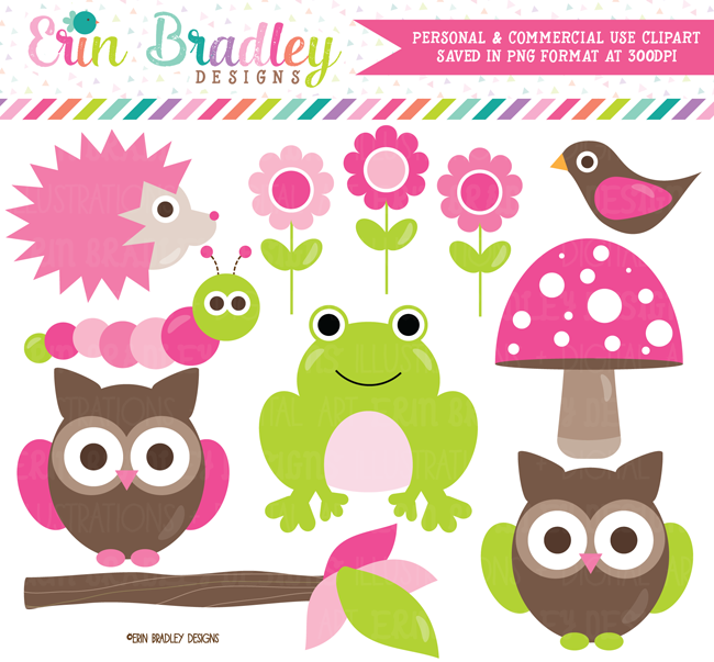 Forest Friends Pink Clipart