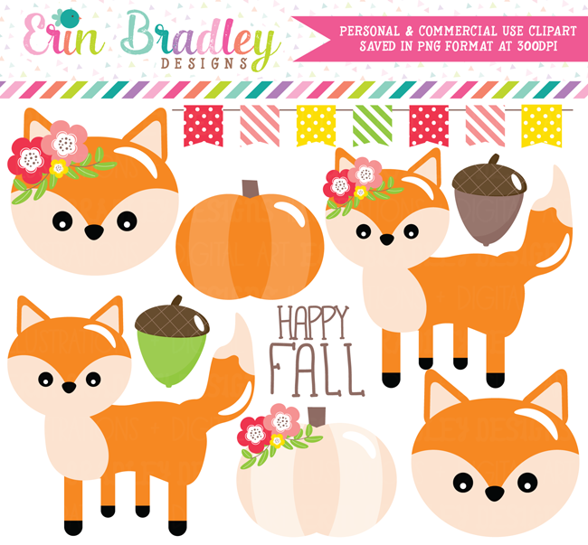 Foxes Clipart Fall Graphics