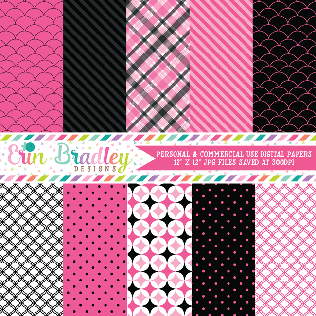 Hot Pink and Black Digital Scrapbook Paper
