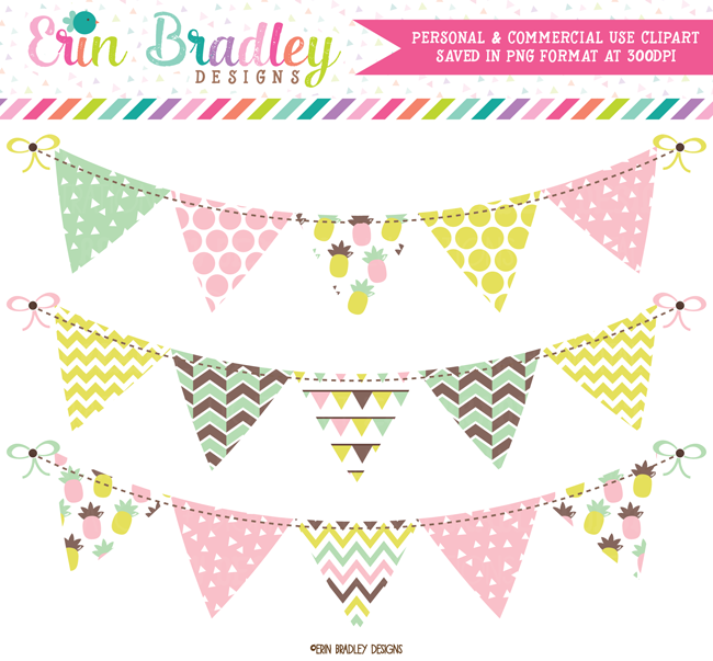 Fun Pineapples Clipart Bunting