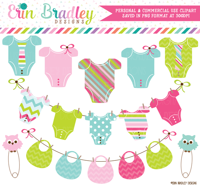 Gender Neutral Baby Tees and Bunting Clipart