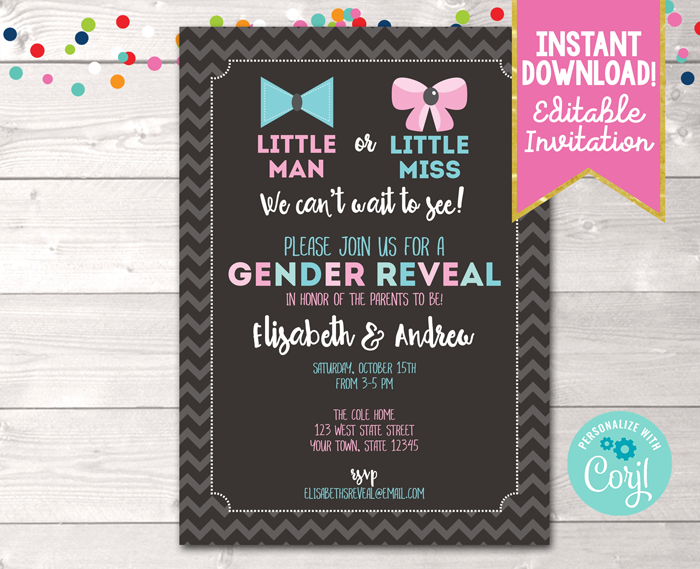 Editable Gender Reveal Invitation Chevron Instant Download Digital File