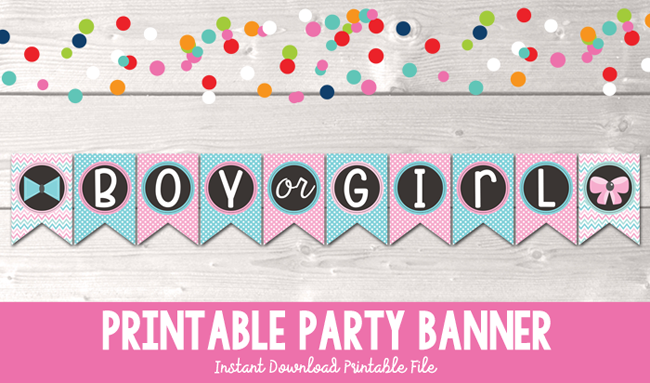 photo relating to Gender Reveal Printable named Gender Demonstrate Social gathering Printable Shower Banner