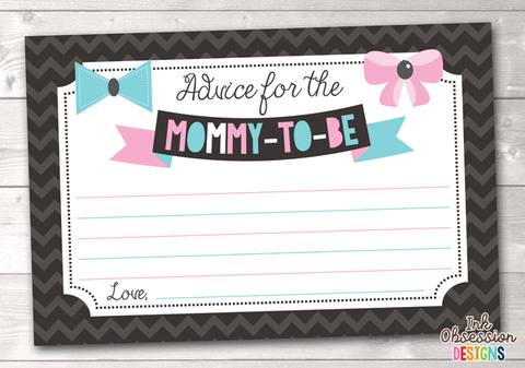Chevron and Bows Printable Mommy Advice Cards