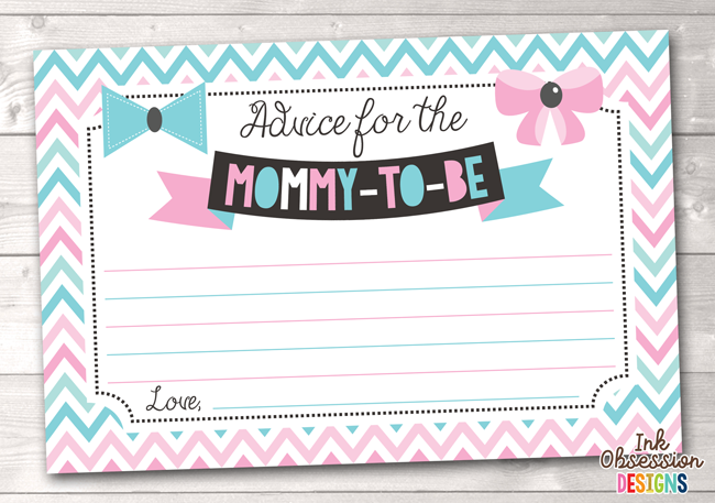 graphic about Mommy Advice Cards Printable named Red and Blue Chevron and Bows Printable Mommy Guidance Playing cards