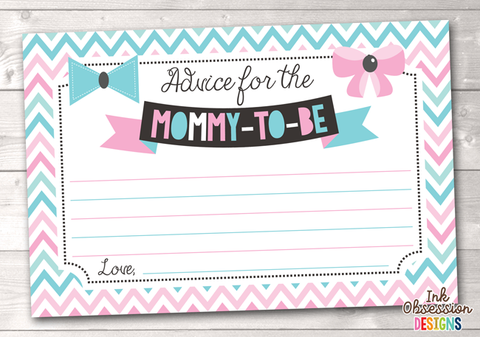 Pink and Blue Chevron and Bows Printable Mommy Advice Cards