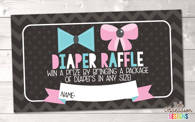 graphic regarding Gender Reveal Printable named Gender Demonstrate Celebration Printable Diaper Raffle Ticket