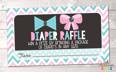 Little Man Little Miss Bows Printable Diaper Raffle Ticket