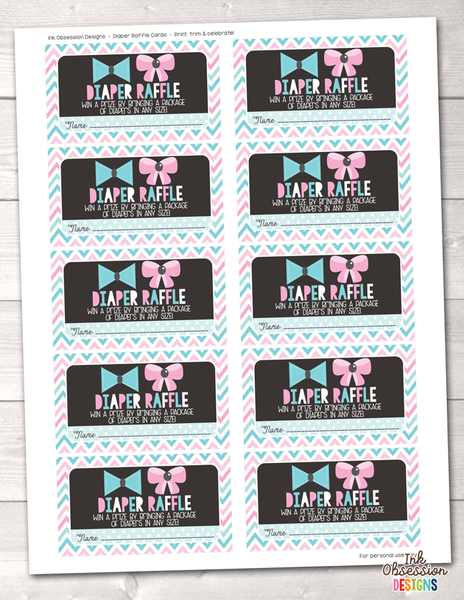 Little Man Little Miss Printable Diaper Raffle Ticket