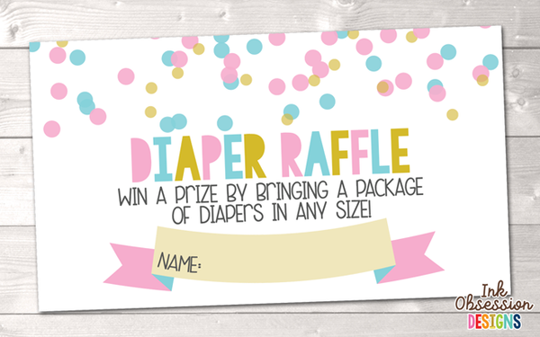 Pink and Blue Polka Dot Confetti Printable Diaper Raffle Ticket