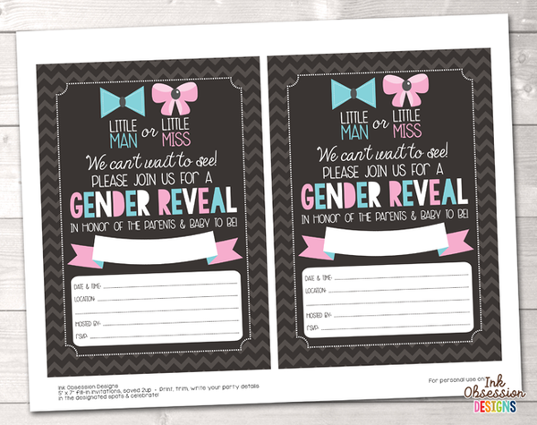 Chevron Stripes Printable Gender Reveal Baby Shower Invitation