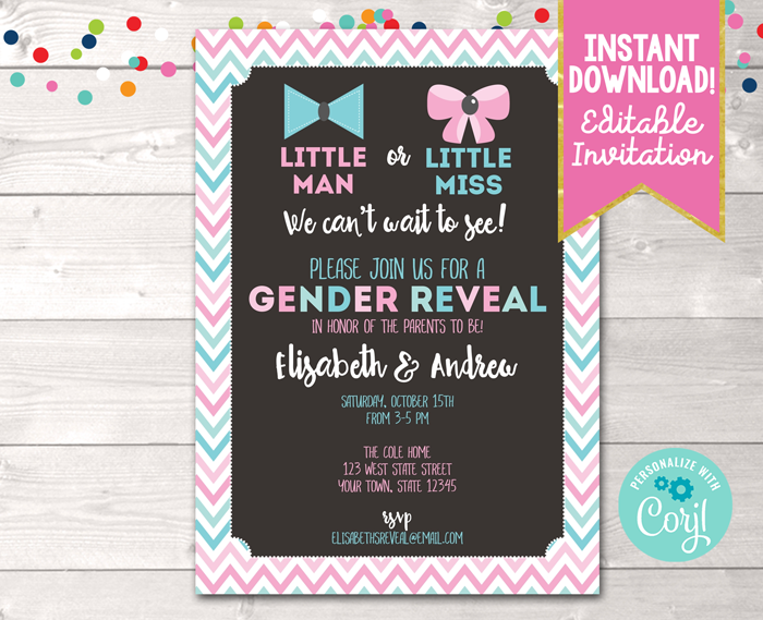 Editable Gender Reveal Invitation Pink & Blue Chevron Instant Download Digital File