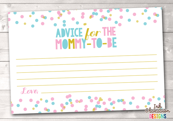 Pink and Blue Polka Dot Confetti Printable Mommy Advice Cards