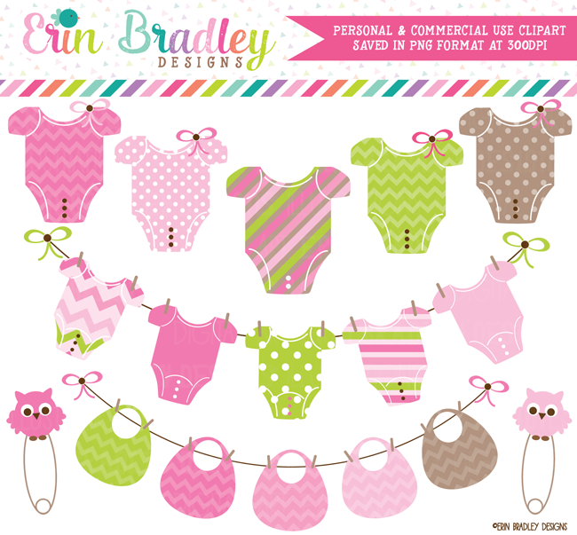 Girls Baby Tees and Bunting Clipart