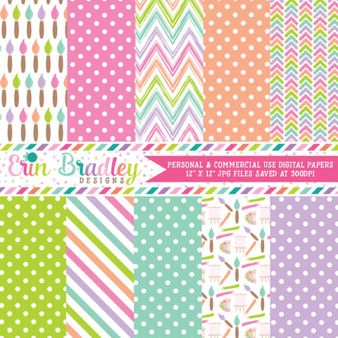 Girls Art Party Digital Paper Pack
