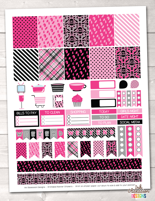 Girls Night Out Pink Printable Planner Stickers Weekly Kit