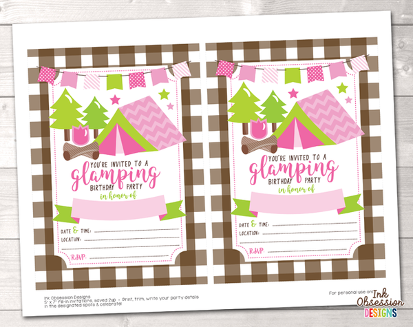 Pink Glamping Girls Printable Birthday Party Invitation
