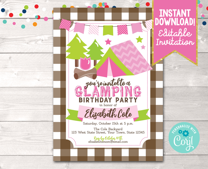 Editable Glamping Birthday Party Invitation Pink Instant Download Digital File