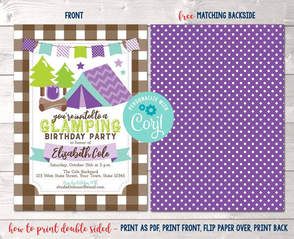 Editable Glamping Birthday Party Invitation Purple Instant Download Digital File