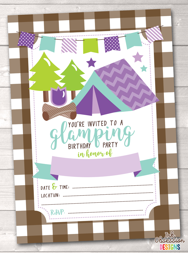 Purple Glamping Girls Printable Birthday Party Invitation