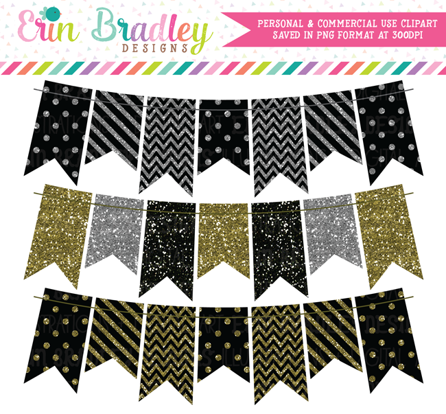 Black Silver Gold Glitter Bunting Clipart