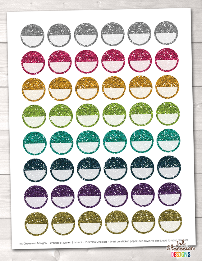 Glitter Circles Printable Planner Stickers