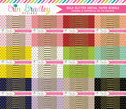 Gold Glitter Digital Scrapbook Paper Bundle Commercial Use Graphics