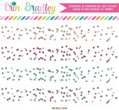 Glitter Polka Dot Confetti Borders Clipart in Pink and Blue