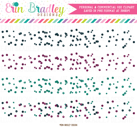 Glitter Polka Dot Confetti Borders Clipart in Blue and Purple
