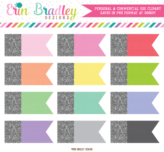 Silver Glitter Flags Clipart