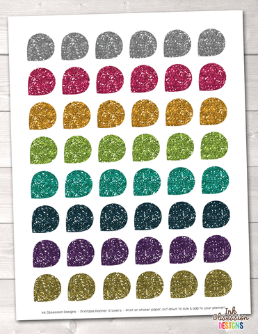 Glitter Teardrops Printable Planner Stickers Instant Download PDF