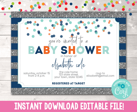 Editable Boys Glitter and Confetti Baby Shower Invitation Instant Download in Blue, Orange & Gray