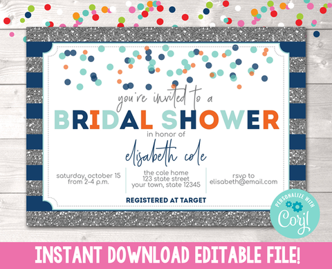 Editable Silver Glitter and Blue Stripes Bridal Shower Invitation Instant Download Digital File
