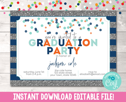 Editable Glitter and Confetti Dots Blue Graduation Party Invitation Instant Download Digital File