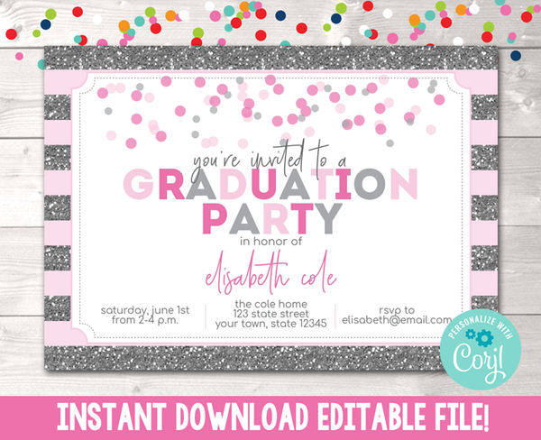 Editable Glitter and Confetti Dots Pink Graduation Party Invitation Instant Download Digital File
