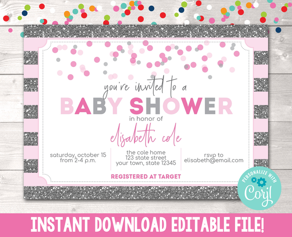 Editable Girls Glitter and Confetti Baby Shower Invitation Instant Download in Pink & Gray