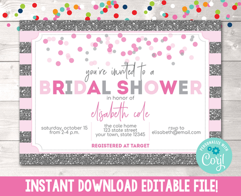 Editable Silver Glitter and Pink Stripes Bridal Shower Invitation Instant Download Digital File