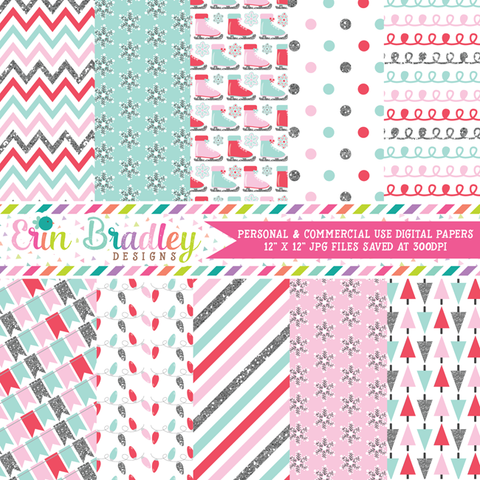 Glittery Winter Digital Paper Pack