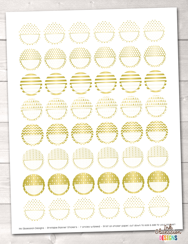 image about Printable Circle Stickers titled Gold Foil Circles Printable Planner Stickers