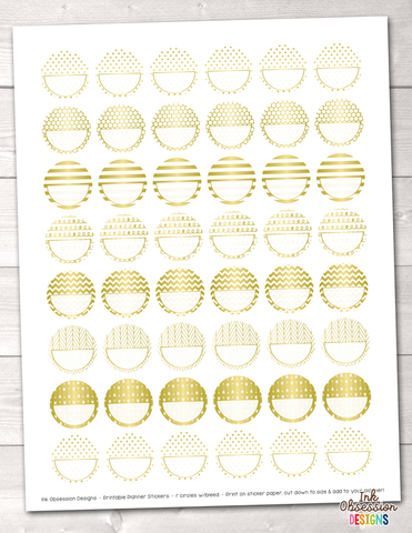 Gold Foil Circles Printable Planner Stickers PDF