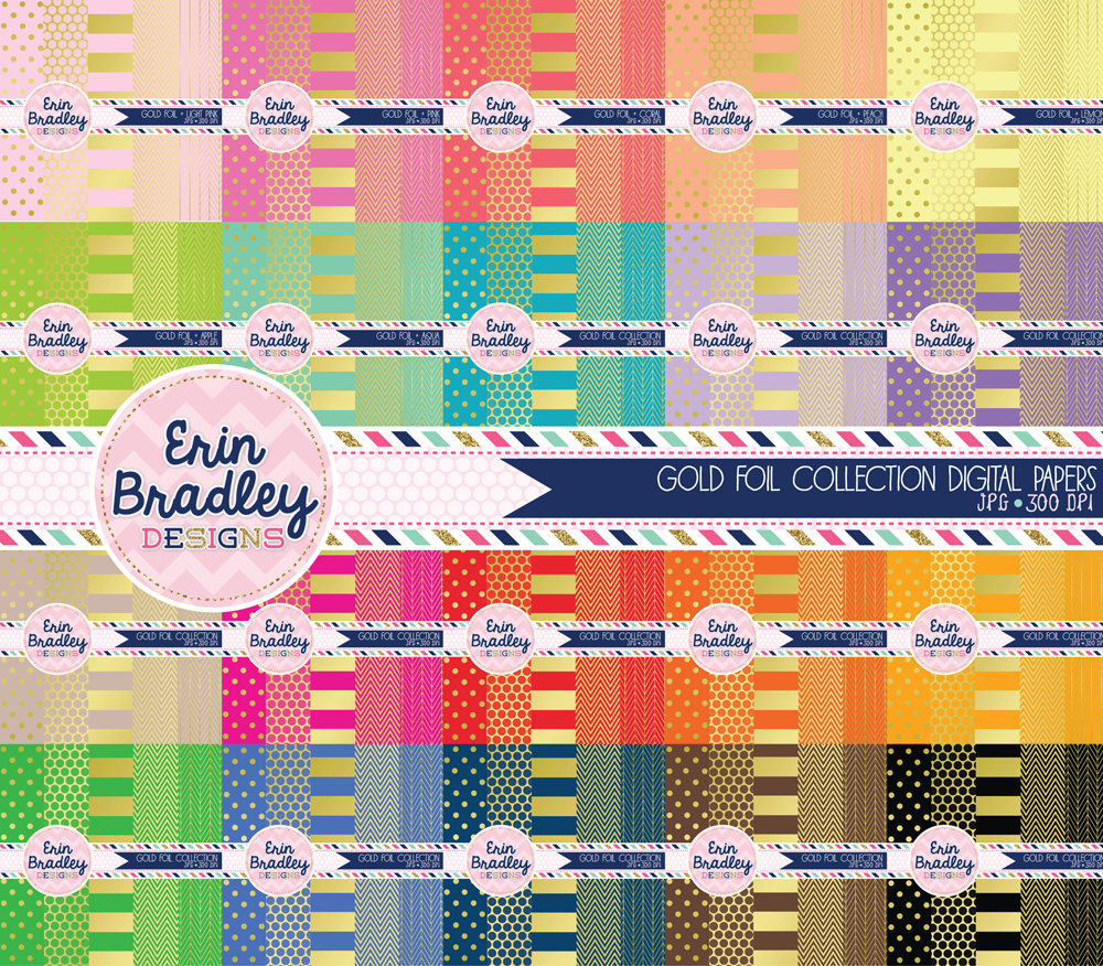 Commercial Use Gold Foil Digital Paper Bundle