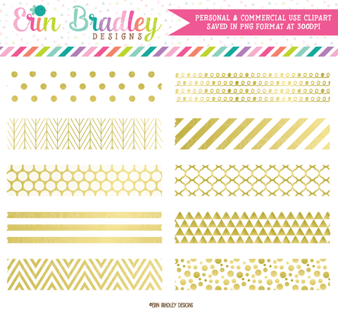 Gold Foil Digital Washi Tape Clipart